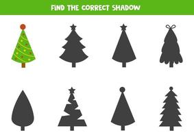 Find the right shadow of Christmas fir tree. vector