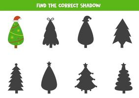 Find shadow of Christmas cartoon tree. Logical game. vector