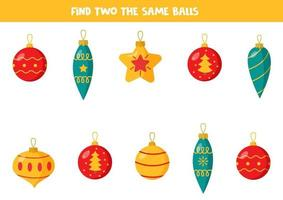 Find two identical Christmas balls. Logical game. vector