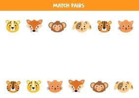 Find pair to each animal. Logical game for children. vector