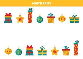 Find pair to each Christmas presents and balls. vector