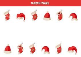 pares de calcetines y gorros navideños a juego. encontrar el idéntico. vector