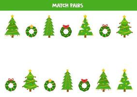 Find pair to each Christmas tree and wreath. vector