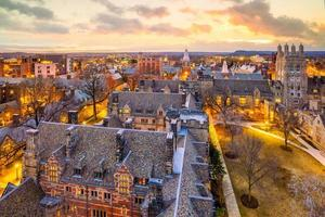 Historical building and Yale university campus from top view