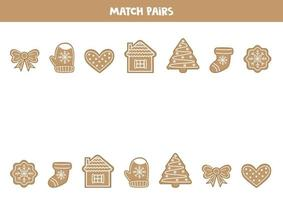 Find pair to each gingerbread cookie. Logical game for children. vector