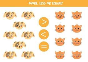 comparación para niños. más, menos con caras de perros y gatos de dibujos animados. vector