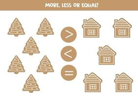 Math worksheet with gingerbread cookies. More or less. vector