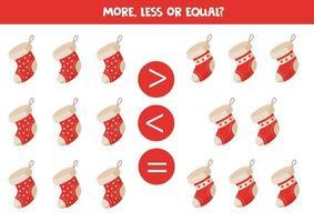 More, less, equal of Christmas socks. Math equation. vector