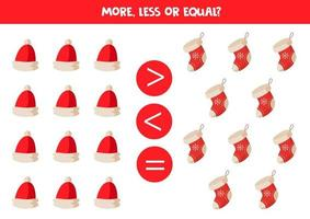 Comparison of objects for kids. More, less with cartoon Christmas caps and socks. vector