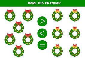 contar todas las coronas navideñas y comparar números. vector