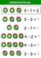 Subtraction game for kids with cartoon Christmas wreaths. vector