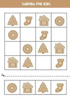 Sudoku with Christmas gingerbread cookies. Puzzle for preschoolers. vector