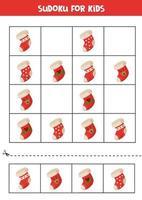 Sudoku de juego de lógica con calcetines navideños de dibujos animados. vector