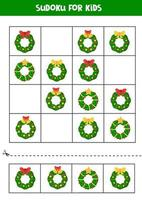 Sudoku game with different Christmas wreaths. Worksheet for children. vector