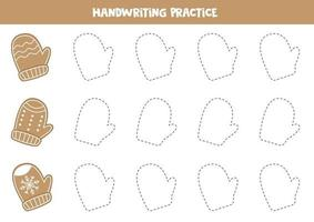 Tracing contours of Christmas gingerbread cookies in shape of mittens. vector