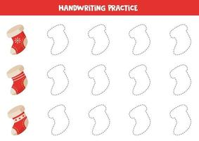 Tracing contours with Christmas socks. Handwriting practice. vector