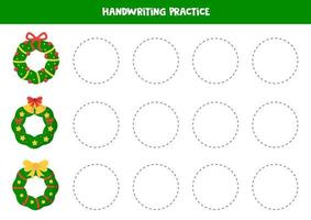 Tracing worksheet with Christmas wreaths. Game for kids. vector