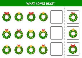 What Christmas wreath comes next. Logical worksheet for kids. vector