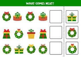 What comes next logical game. Cartoon Christmas wreaths and gifts. vector