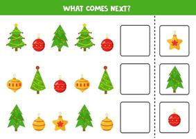 What Christmas ball and tree comes next. Logical worksheet for kids. vector