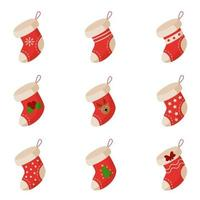 Collection of different cartoon Christmas socks. Vector. vector