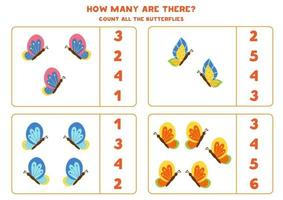 Counting game with butterflies. Math worksheet. vector