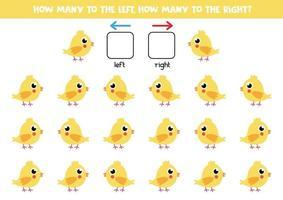 izquierda o derecha con pollo. hoja de trabajo lógica para niños en edad preescolar. vector