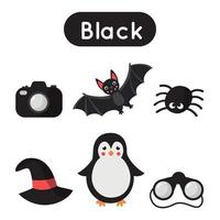 Learning black color for preschool kids. Educational worksheet. vector