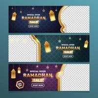 Gradient Ramadan Kareem Promotion Sale Banner vector