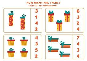 Counting game for kids. Count all Christmas gift boxes. vector