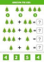Addition for kids with Christmas fir trees. vector