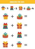 Addition with Christmas gift boxes. Mathematical game for kids. vector