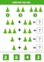 Math game for kids. Addition with Christmas tree. vector