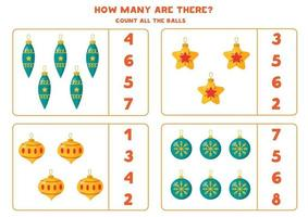Counting game for kids. Math worksheet with Christmas balls. vector