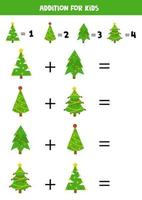 Addition with Christmas fir trees. Mathematical game for kids. vector