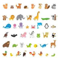 Large collection of wild and domestic animals and birds. vector