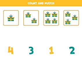 Count all objects and match with numbers. Math game with present boxes. vector