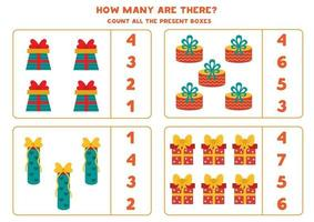 Counting game with present boxes. Math worksheet. vector