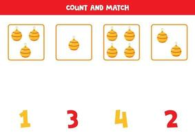 Counting game with Christmas balls. Math worksheet. vector