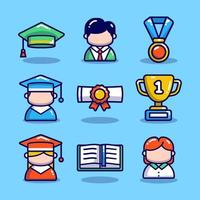 Graduation Icon Set with Blue Background vector