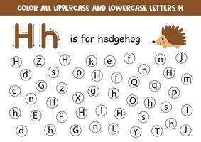 hoja de trabajo del alfabeto. encontrar todas las letras hh. letras de puntos. vector