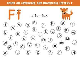 encontrar y colorear todas las letras f. juegos de alfabeto para niños. vector