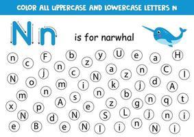encontrar y colorear todas las letras n. juegos de alfabeto para niños. vector