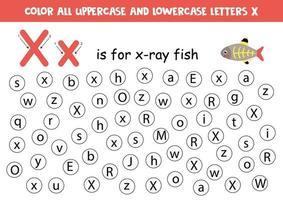hoja de trabajo del alfabeto. encuentra todas las letras x. letras de puntos. vector