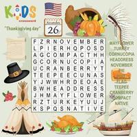 crucigrama de búsqueda de palabras del día de acción de gracias vector