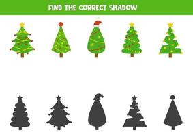 Matching shadows game. Find shadows of fir tree. vector