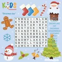 feliz navidad crucigrama de búsqueda de palabras vector