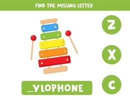 Find missing letter with cute cartoon xylophone vector