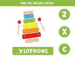 Encuentra la letra que falta con el xilófono de dibujos animados lindo vector