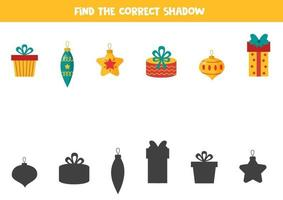 Find the correct shadow of Christmas elements. Set of present boxes and balls. vector